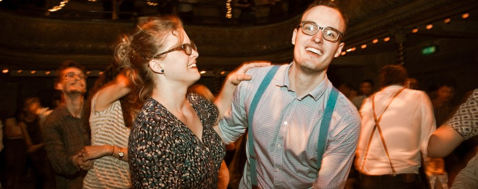 Swing dancers at Wilton's Music Hall.